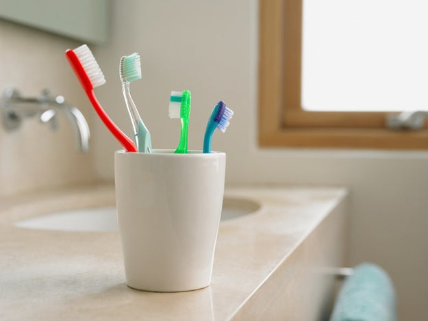 Clean out the bottom of your toothbrush cup.