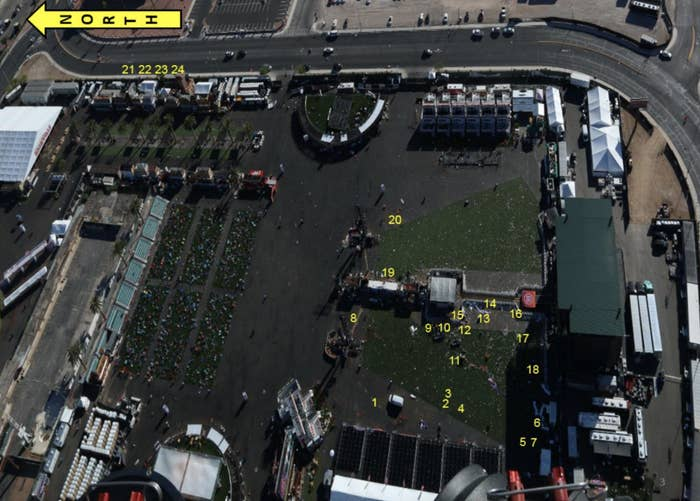 Numbers show the location of victims who were shot by Stephen Paddock.