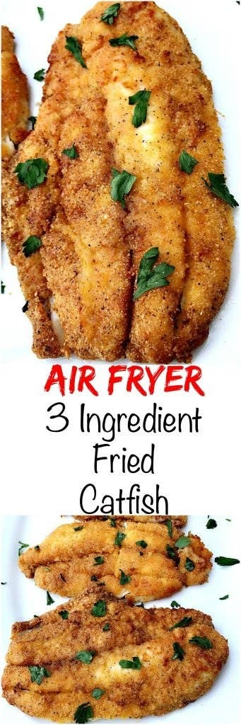 Make sure to thoroughly dry all moisture from your fish so the fish fry seasoning can stick to the fish. Recipe here.