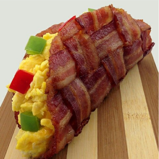 Once you master the bacon weave, you can make BACON TACO SHELLS!!!