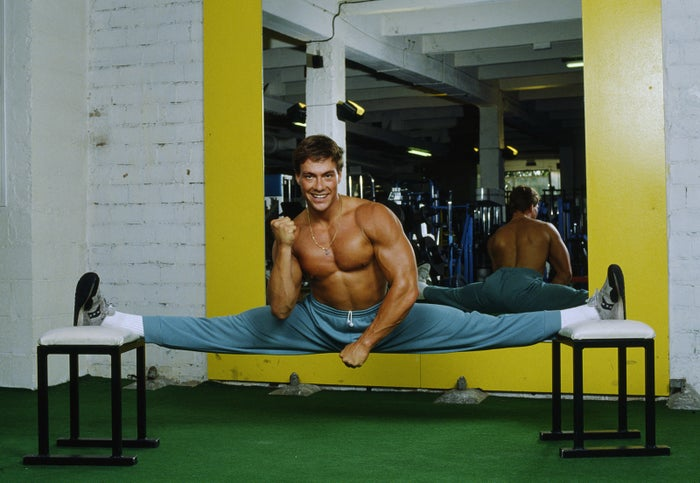 Jean-Claude Van Damme working out at the Weider Gym in Paris in 1988.