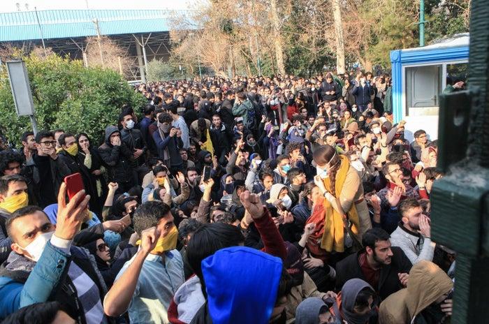 Students at the University of Tehran Saturday.