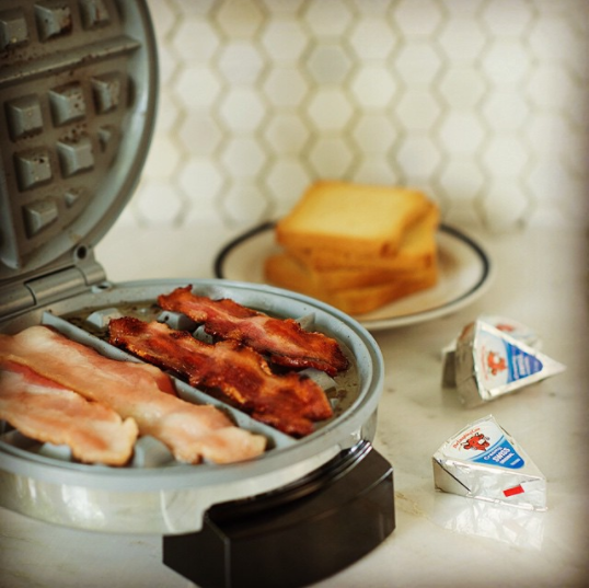 You can also cook bacon in a waffle iron.