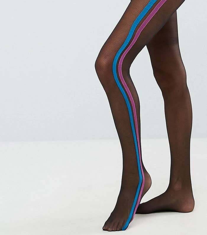 3e9adf283 Mesh tights with colored stripes to look sporty while walking to the bakery.