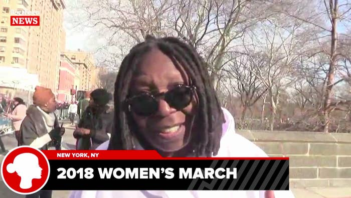 Whoopi Goldberg at the 2018 New York City Women's March.