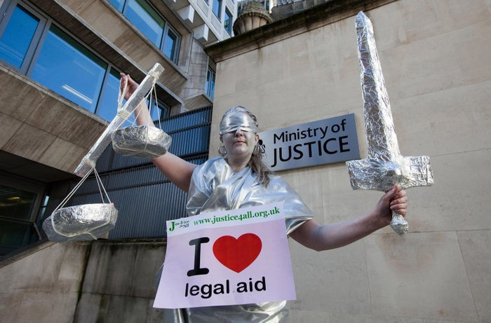 A protester outside the Ministry of Justice in 2011.