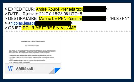 Mail envoyé le 10 janvier 2017 par André Rougé à Marine Le Pen, accompagné d'une note sur la fin de l'AME.