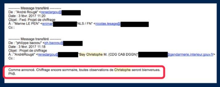 Extrait d'un e-mail dans lequel Christophe Bay est sollicité sur la partie économique du programme de Marine Le Pen.