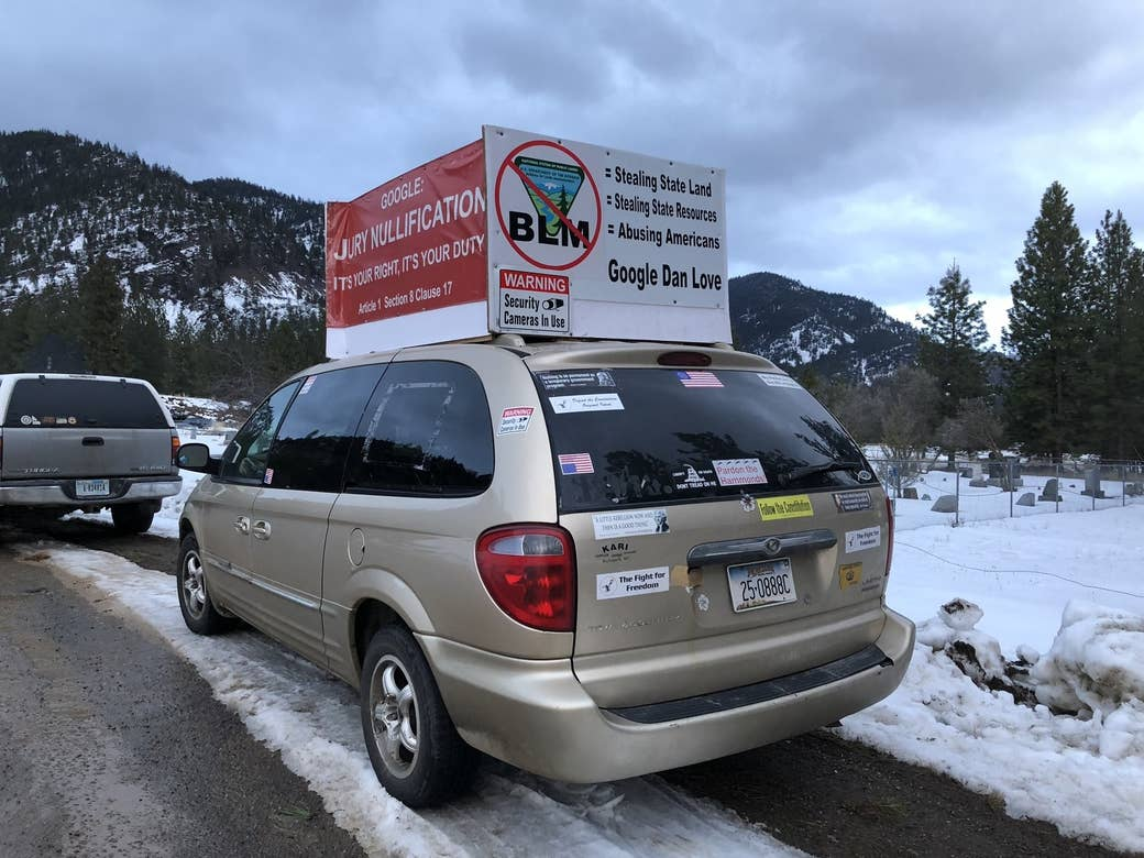 A Montana van parked outside the Cliven Bundy gathering in Paradise, Montana.
