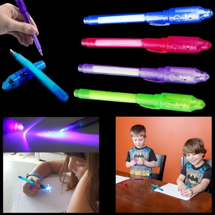 """Basically your kid writes horrible things about you and then uses the UV light on the cap to unlock the message! Promising review: """"My son recently asked for a secret message pen that only shows what's written with a special light. He said a friend at school had one & that it was the coolest thing ever, so I bought these for his Easter basket. He was thrilled! The felt tip writes with the invisible ink & the simple push light on the cap, makes the message glow. They came individually wrapped & they all work perfectly!"""" —Kimberly S. Price: $7.49 (for a pack of four)"""