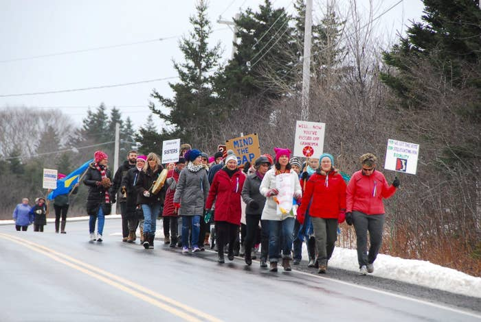 """There were 32 marchers this year from Sandy Cove and surrounding communities, according to Gwen Wilson, one of the co-organizers.""""We had some noisemakers, some drumming. We did some cheering to keep our spirits up. Everybody was very enthusiastic right from the get-go,"""" said Wilson. The age of the participants ranged from 3 to 76, she said."""
