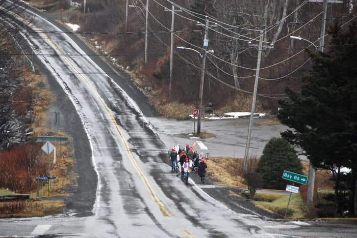 The march in Sandy Cove drew 16 people, which was pretty huge for a community of just 65.