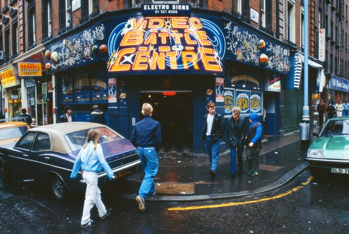 A video arcade on the corner of Rupert Street and Brewer Street in London's Soho, circa 1979.