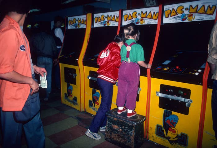 Girls play Pac-Man at a video arcade in Times Square, New York City, on June 1, 1982.