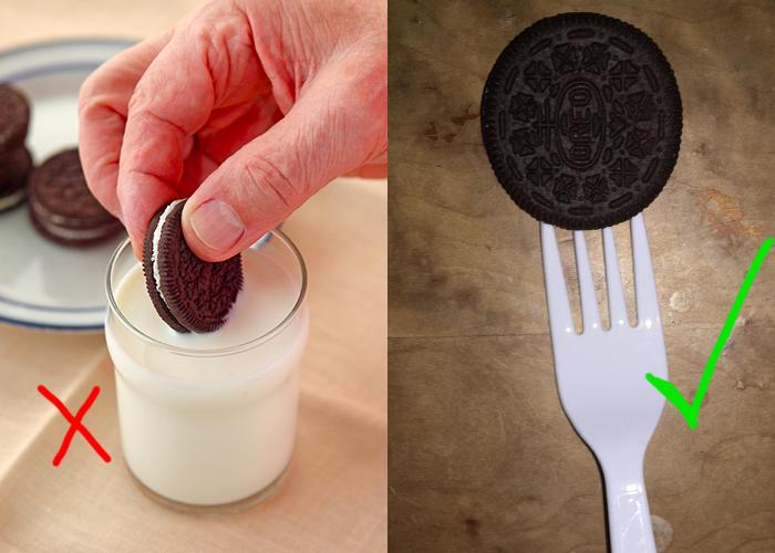Cómo deberías hacerlo: ¡utiliza un tenedor! La galleta se moja bien y tus dedos siguen limpios y secos.