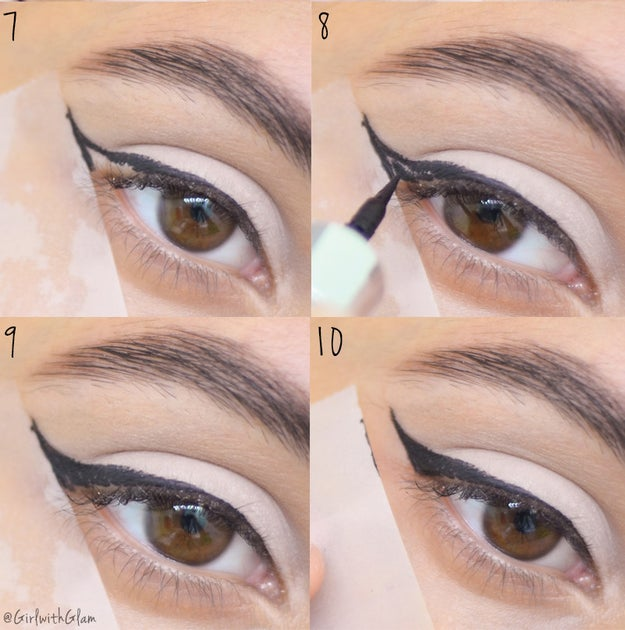 A regular piece of tape's an easy way to get that perfect wing.