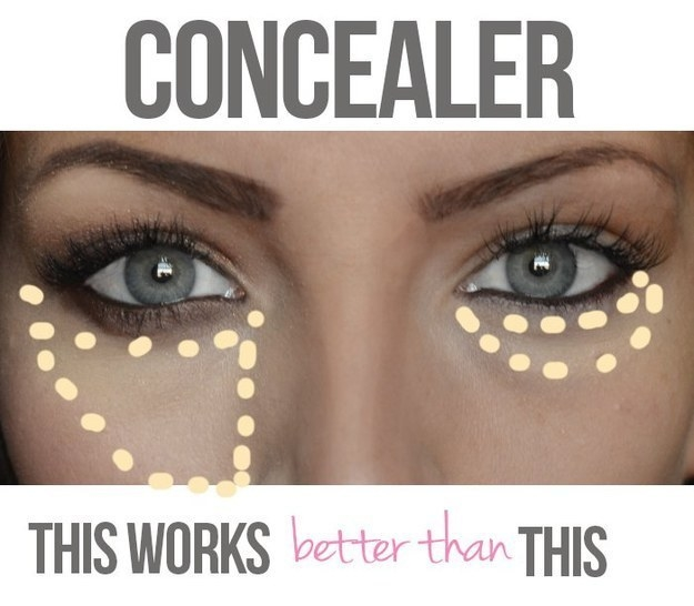 Blend out your under-eye concealer in a wide triangle shape and you'll look more awake.