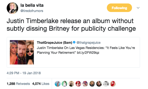 But most people think he's shading his ex-girlfriend, Britney Spears, who also has had a Vegas residency since 2016. People were not happy: