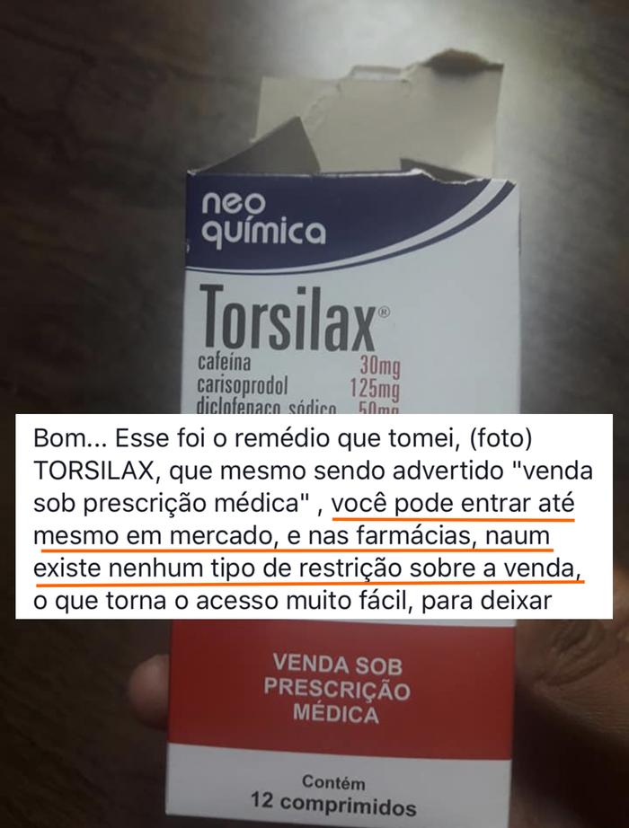 O Fernando ainda chama a atenção para como é fácil comprar o remédio, que teoricamente só poderia ser vendido com receita.