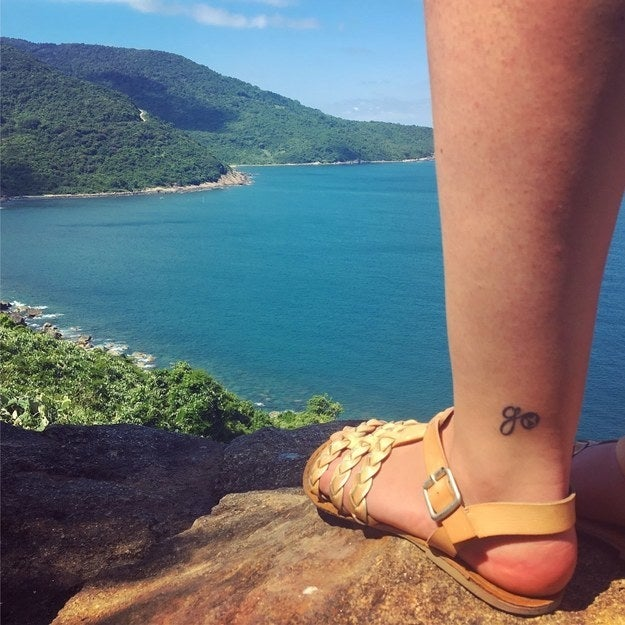 """""""As a teacher at an international school and someone who has been bitten hard by the travel bug, I got this tattoo to remind me to 'always take the trip.'""""—kellyb4f57fa3b9"""