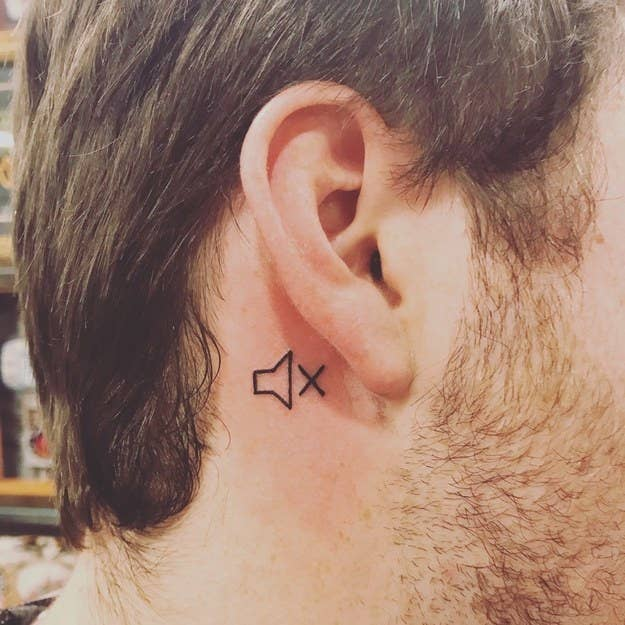 """I went deaf in my right ear when I was a freshman in high school. I've made jokes about it ever since then, and it's one of the funniest, if not one of the worst, things to ever happen to me. I got my tattoo to immortalize my twisted sense of humor, but also so my family actually knows which ear I can hear out of.""—nicks4979342e4"