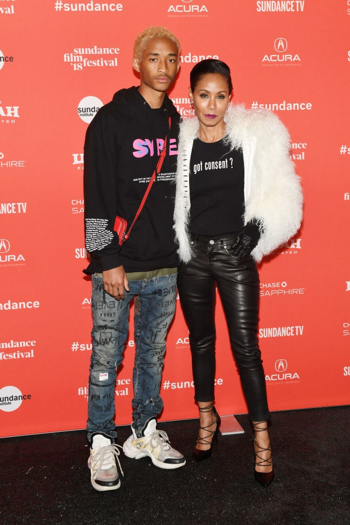 A) Shout out to Jaden for promoting his debut studio album Syre, while also promoting his new film. B) JADA PINKETT SMITH LOOKS AMAZING and I want that shirt in my closet, like yesterday.