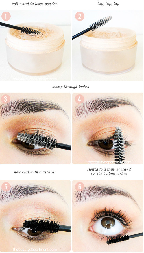 Layer powder between coats of mascara for extra thick lashes. Or just let the mascara dry between coats.