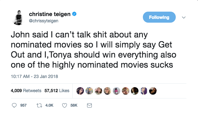 Get Out has been nominated for four Academy Awards (Best Picture, Best Original Screenplay, Best Director, and Best Actor) and I, Tonya is nominated for three (Best Actress, Best Supporting Actress, and Best Film Editing).