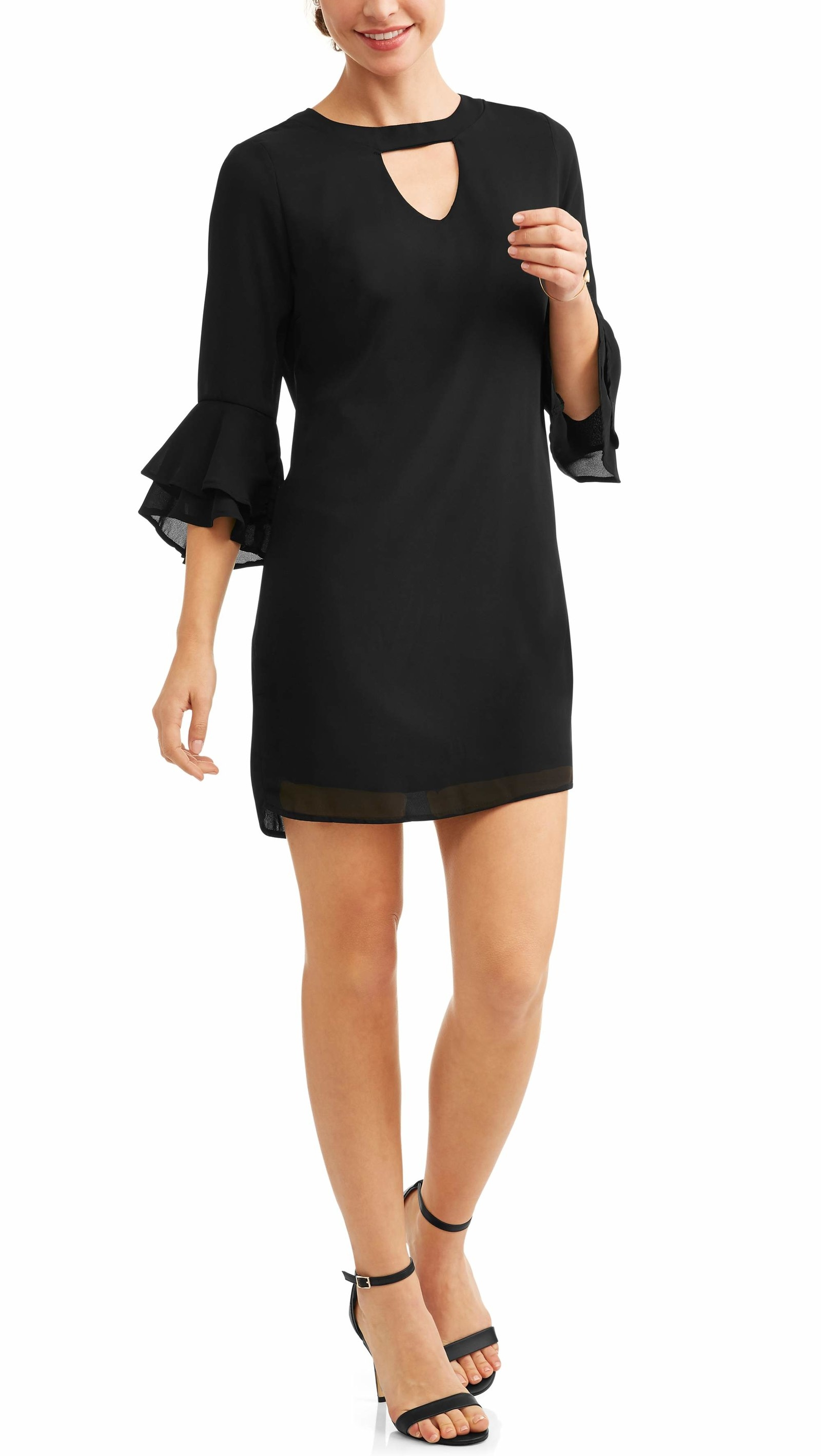 4fe57af8278 1. A ruffle sleeve dress that is the perfect day-to-night ensemble. It can  be casual OR fancy shmancy with some heels. Share On Facebook Share ...