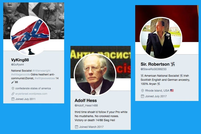 Accounts @Duffys44 and @SteveRo56399233 are withheld in Germany and France, and @Adolf_Hess1488 is withheld in Germany. They can be seen by Twitter users in all other countries.