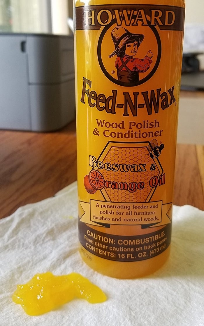 It's made with orange oil, which conditions the wood, and beeswax and carnauba wax, which provide a protective coating. The company recommends applying it every three to six months, or whenever your wood needs some sprucing up.