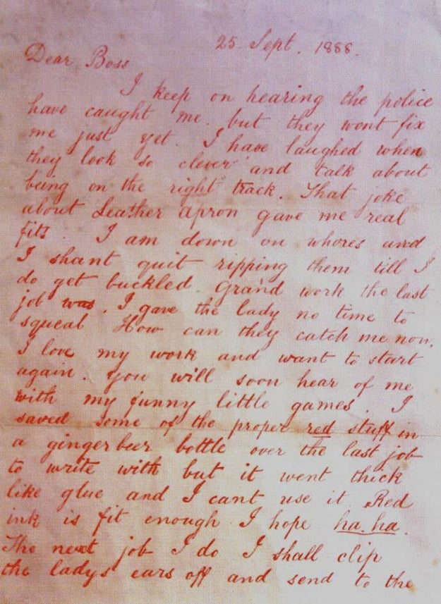 On Sept. 27, 1888, the apparent killer sent a letter to police. It's known as the