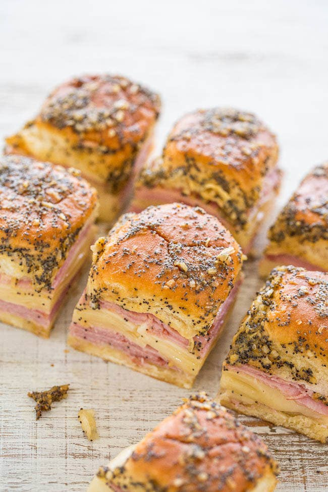 All you need are Hawaiian rolls, sliced ham, Swiss cheese, and some spreads to throw together this crowd-pleaser. Get the recipe.