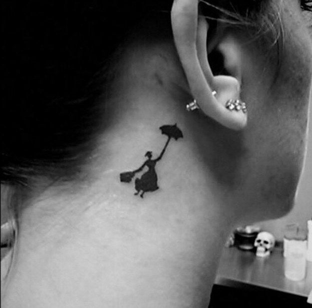 """""""My beautiful, tiny tattoo of Mary Poppins. I'm not lucky enough to be able to see it all the time, but it becomes a nice surprise for friends when I put my hair up, and it's visible for all to see! I've gotten so many compliments on this tattoo.""""—stardust12706"""