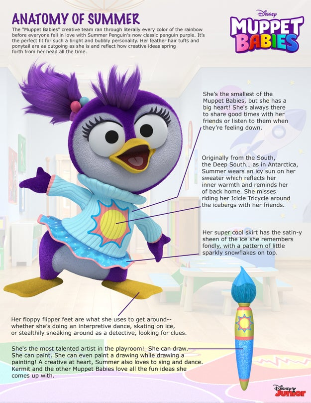 And today we have an exclusive first look at a brand new Muppet Baby who will be joining the crew, Summer Penguin: