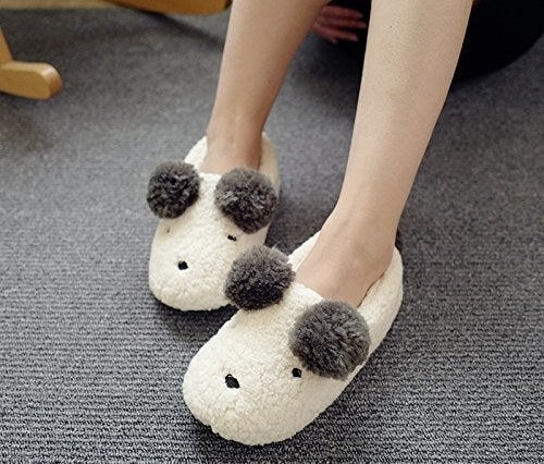 "Promising review: ""These slippers are adorable! They run a little big and stretch out a little, so I wear them with socks. I will order another pair, maybe a different cute animal, when these wear out. I threw them in the washer and dryer and they came out great!"" —Amazon CustomerPrice: $17.99+ / Sizes: 5/6-11/12 / Also available in 32 other styles"