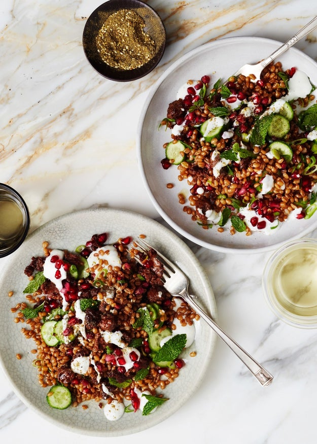 Wheat Berry Bowl With Merguez and Pomegranate