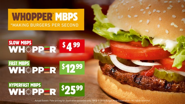 Basically, in this example, Whopper=Internet.