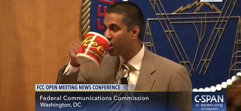 The video also makes fun of FCC Chairman Ajit Pai and the oversized coffee mug he drank from while repealing net neutrality rules in December.
