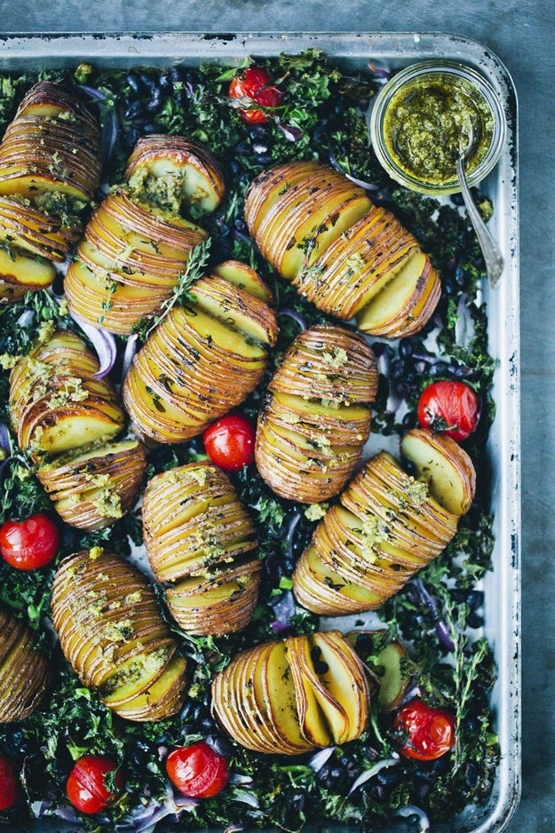 Hasselback Potatoes With Kale, Beans, and Pesto