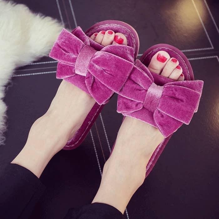 00fbaf0d369 Glamorous velvet slides all other slippers will bow down to.