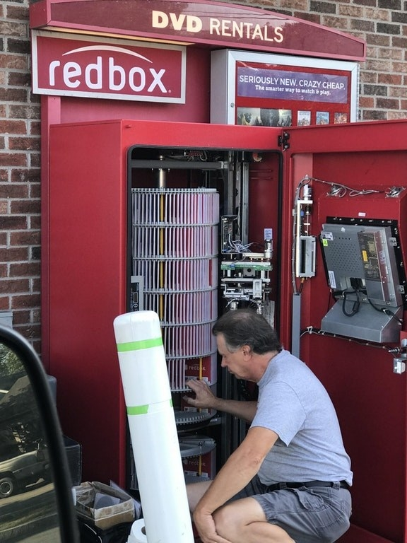 The inside of a redbox: