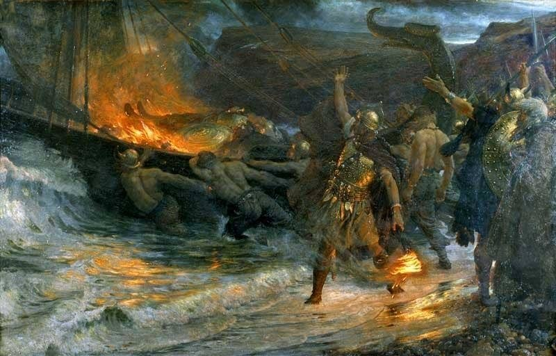"According to the 10th century Arab scholar Ahmad ibn Fadlan, Viking funerals for their leaders were long and cruel. The leader's body would be put in a tent on his ship for ten days by a matriarch known as the ""angel of death"". A ""thrall"" (slave or serf) girl would volunteer to go the the afterworld with him. During those ten days, she would be guarded day and night by the daughters of the ""angel of death"" and intoxicated with drinks. When it was time for her master to be cremated, she would go through a series of rituals. She would be given even more intoxicating drinks in the hopes that they would put her into a psychic trance. She would be lifted by six men through a doorframe, and each time she would claim to see a different vision; firstly her parents, then her entire family, and finally her master in the afterworld, beckoning her. She would then be led onboard her master's ship, and she would give her jewellery to the old woman and her daughters who guarded her. She would then enter her master's tent, followed by six men, who would each take turns in having sex with her – supposedly symbolic of her status as a vessel for life force. Then the men would hold her still by the limbs, with a rope around her neck, and the ""angel of death"" would enter the tent and stab the girl between her ribs. The boat would then be set on fire. It should be noted, the accuracy of this particular account is unclear, but there is plenty of evidence that women and slaves were sacrificed alongside their chief."