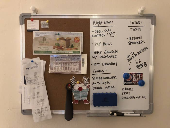 I like to be organized but my memory is horrible, so I always keep a to-do list on my phone. Of course, I always forget to check my phone, so nothing on the to-do list really gets done (until it's too late). Enter this whiteboard and bulletin board combo set. I had always wanted one of these, but I never found one that I liked for a reasonable price. So when I saw this product on Amazon, I ordered it ASAP. I have it hanging above my workstation, which is right next to the entryway in my apartment, so I can see everything at a glance. It's also easy for me to check it before walking out the door. On the whiteboard side, I usually just have a to-do/to-buy list, and maybe a personal note. It's really satisfying to wipe things off after completing them. On the bulletin board side, I keep important receipts, tickets to events, checks, mementos, and coupons. This way, I remember to use everything before it expires. I've become a lot more organized since getting this combo board because I'm constantly reminded of what I need to do. I'm also motivated to finish all the tasks so I can start with a clean board for the next week! It's a lot more effective than just keeping a list on my phone. The board is a really great size — big enough to jot down a lot of info, but small enough that it doesn't overwhelm my wall. There are two hanging hooks attached to it, which makes it very easy to install, and it comes with two magnets, two markers, and a bag of tacks, so you can use it right away without making an extra trip to Staples. I'm not exaggerating when I say that this board has helped me get my life together! My combo board and I are gonna kill it in 2018. —Yi YangGet it from Amazon for $29.89.