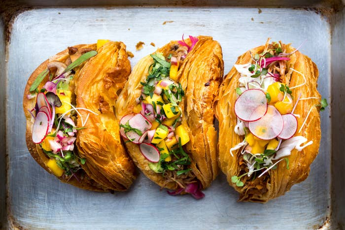 The monster taco + croissant hybrid debuted earlier this month at Vive La Tarte bakery in San Francisco, and retails for $12. (Pretty steep for a single tacro, but we hear a single order is pretty filling.)