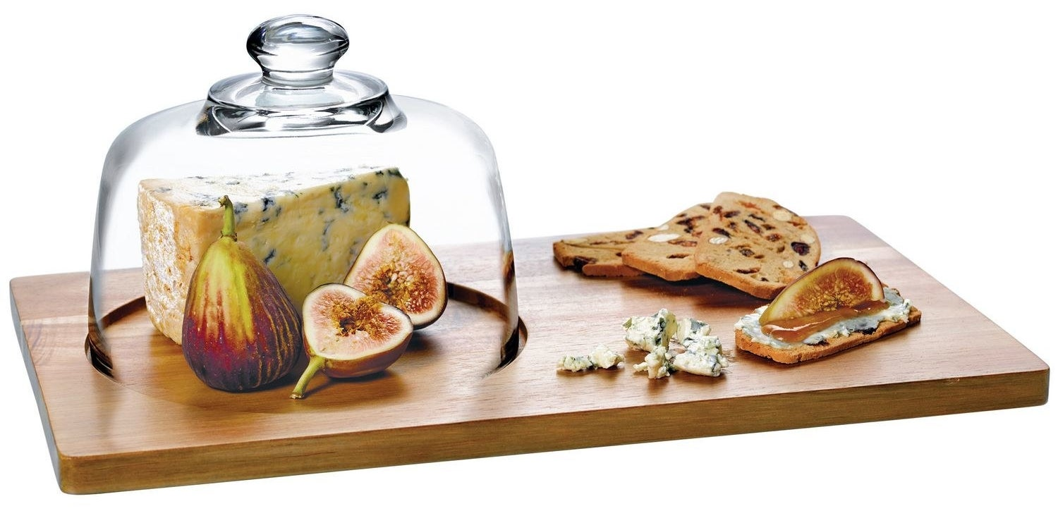 A fancy-looking serving platter with a glass dome that's dishwasher safe for all your stinky cheeses.