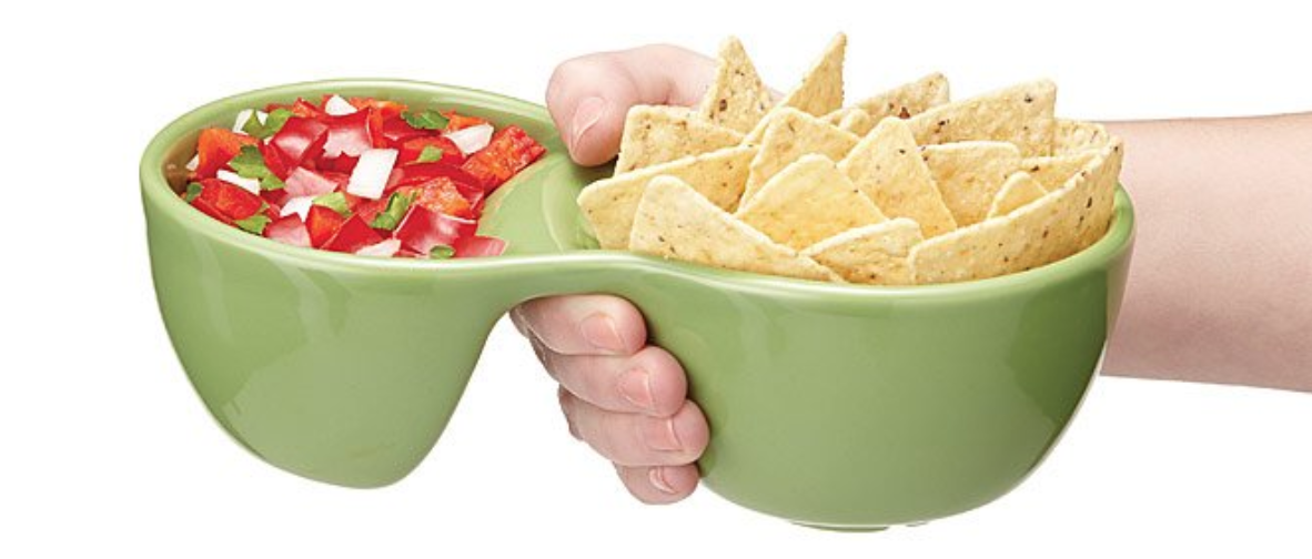 An ergonomic, handheld party bowl for hoarding all the dip, since sharing is overrated anyway.