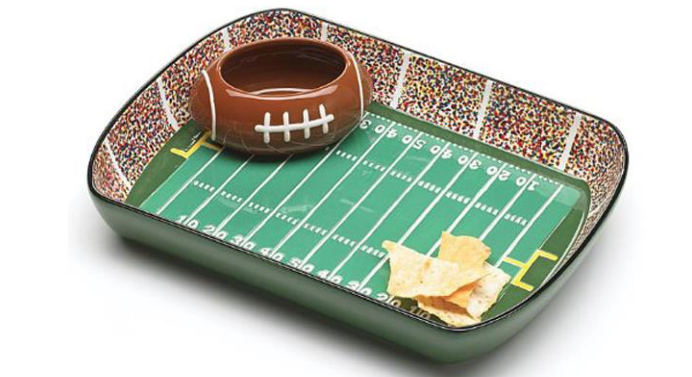 A football-themed chip and dip set that goes with your whole gameday aesthetic.