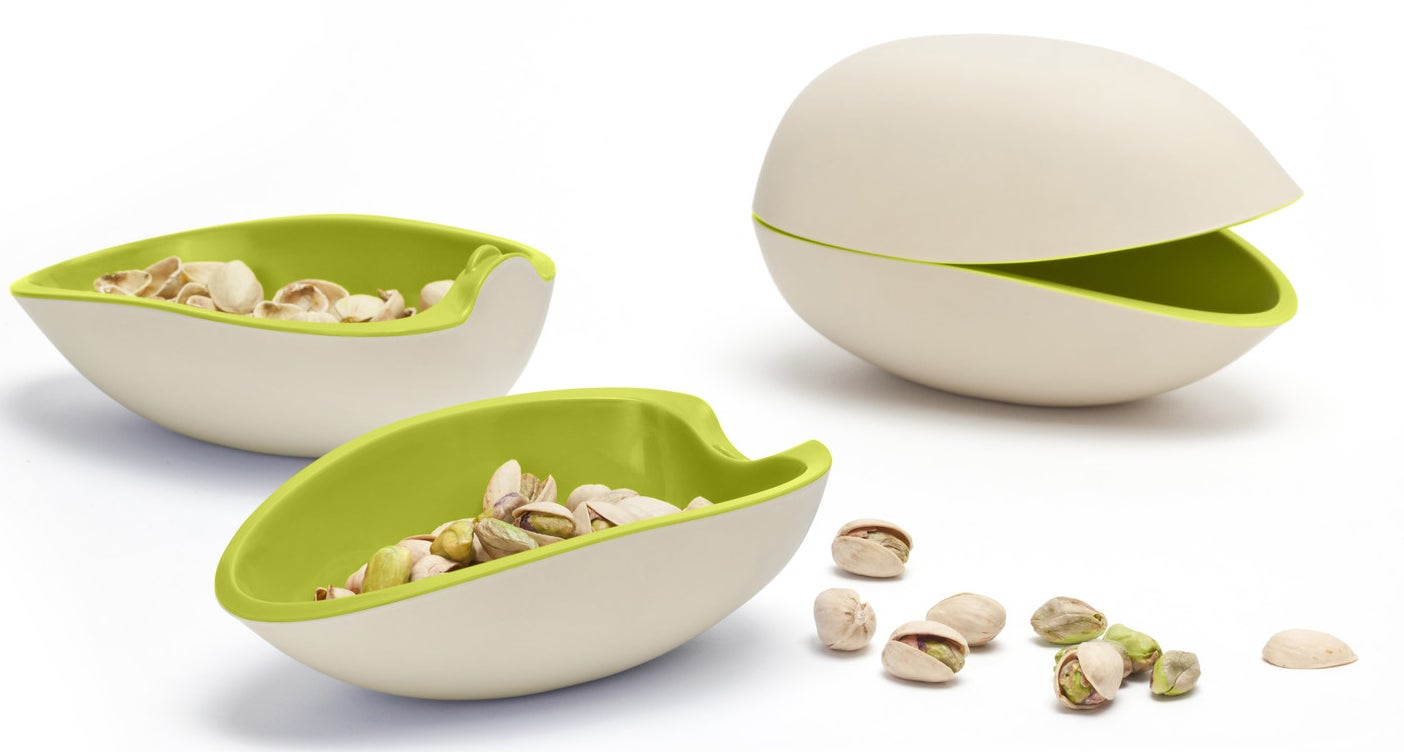 An adorable pistachio bowl that turns into a matching snack set for extra storage.