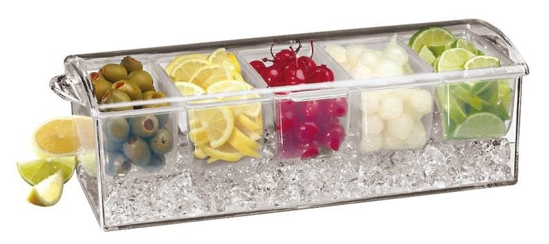 A compartment tray that keeps garnishes cool while holding up to 10 full cups of condiments.